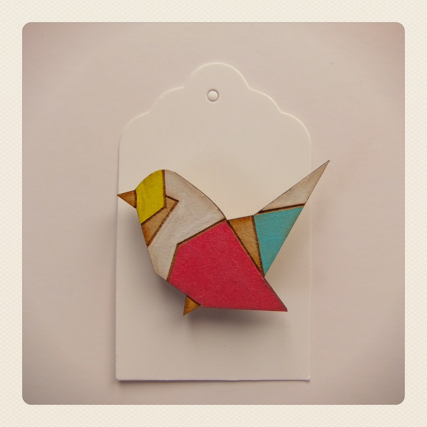 Origami bird with pink wings Brooch